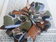 Hair Bow-- Camo Glitter Layered Boutique Hair Bow - 11/18