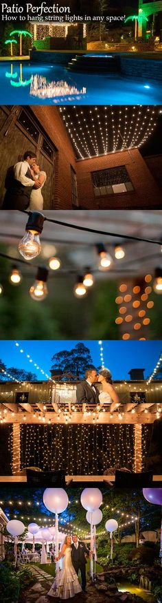 How to hang patio lights in any space! This is such a fun #DIY idea for summer parties, backyard lighting and even Weddings!