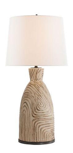 KELY WEARSTLER | EFFIE TABLE LAMP. Richly Textured Ceramic Base With White  Linen Shade.