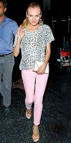 Love the idea of pink pants with grey leopard! Not too crazy about this exact outfit though. DIANE KRUGER photo | Diane Kruger