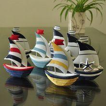 Mediterráneo colorida del hierro forjado artesanía decoraciones para el hogar del hogar velero de madera modelo adornos / souvenir regalo de artesanía de madera(China (Mainland))