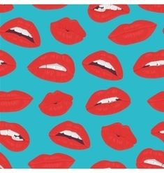Vintage red lips kiss seamless pattern on the blue vector Lipstick Style, Lipstick Kiss, Retro Vector, Vector Art, Happy Birthday In Spanish, Female Lips, Kiss Emoji, Pink Blood, Emoji Love