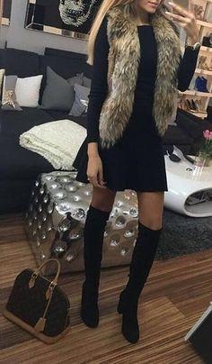 #fall #fashion · Fur Scarf + Black Dress & Knee Length Boots