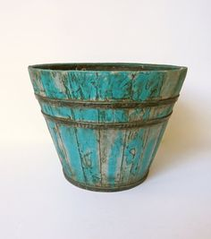 Turquoise Rustic Garden Planter Wood-like Planter Pot by Swede13