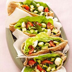 We added pitas and fresh greens for a hearty twist on Caprese Salad. Caprese Salad Pita Pockets  More No-Cook Recipes: http://www.bhg.com/recipes/healthy/our-best-healthy-no-cook-no-bake-recipes/ #myplate