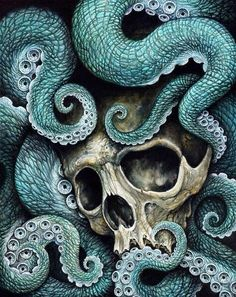 Available in FULL, QUEEN and KING size is this disturbing yet beautiful octopus tentacle skull bedding featuring arms of the deep cradling the weathered skull Octopus Tentacles, Octopus Art, Octopus Tattoos, Skull And Bones, Illustrations, Canvas Prints, Art Prints, Skull Art, Dark Art