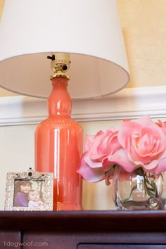 DIY Painted Bottle Lamp | www.1dogwoof.com