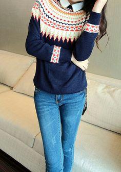 Multicolor Geometric Print Sweater - Navy