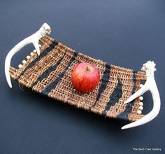 Woven Tray with Antler Handles Functional Art for Table or Wall