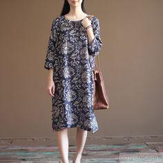 Navy floral cotton sundress plus size summer maxi dresses oversize caftan