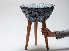 Stool Is Made From Textile Waste Reclaimed from Chilean Factories. This new material uses natural and plastic waste and is held together with a biodegradable starch-based  adhesive.
