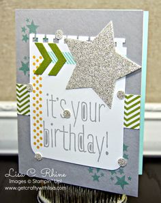 Get Crafty with Lisa:  It's Your Birthday!  This It's Your Birthday Card features Stampin' Up!'s Big News, Perfect Pennants, and Project Life Point  Click stamp sets, and Star Framelits Dies, by Lisa Rhine, www.getcraftywithlisa.com