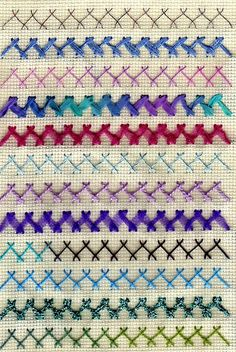 a sampler with different threads, all using the herringbone stitch Embroidery Stitches Tutorial, Embroidery Sampler, Embroidery Works, Folk Embroidery, Embroidery Techniques, Cross Stitch Embroidery, Embroidery Patterns, Sewing Hacks, Sewing Projects