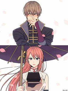 Sougo Okita x Kagura [OkiKagu], Gintama Anime Couples Manga, Chica Anime Manga, Cute Anime Couples, Kawaii Anime, Anime Guys, Manga Couple, Anime Love Couple, Okikagu Doujinshi, Gintama