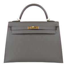 f0c0b985697 Hermes  Etain Kelly Sellier 32cm Hermes Epsom Leather Bag Gold Ghw 2015