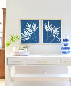 DIY Cyanotype Diptych Art | Centsational Girl