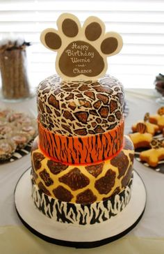 Patterned Happy Birthday Cake for Dogs - not that I would do this for my pup -- but sure is fun!