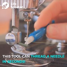 Easy Needle Inserter And Threader 😍Not only is it a needle threader but it also easily inserts the needle too! Sewing Tools, Sewing Hacks, Sewing Tutorials, Sewing Crafts, Sewing Projects, Sewing Machine Thread, Sewing Stitches, Sewing Patterns, Sewing Machines