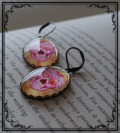 Pink Sugar Skull Earrings £13.99 Wearable Art By Octavia's Tattoos