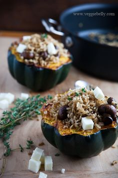 Acorn Squash Stuffed with Brown Rice Mushroom Pilaf - Would make a great vegetarian Thanksgiving main course!