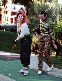 Paul Reubens and Cyndi Lauper mini golfing, circa 80's