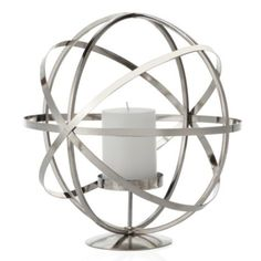 Atlas Pillar Holder - Silver from Z Gallerie   Def has a way out space age appeal.  Mid-Cent Mod.  PattyHughes Interiors