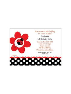 Ladybug Party Personalized Invitation