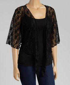 Another great find on #zulily! Black Lace Bell-Sleeve Bolero - Plus by Star Vixen #zulilyfinds