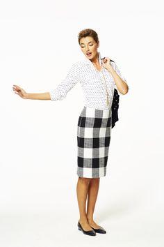 Bold Plaid Pencil Skirt