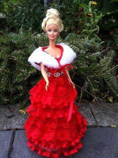 Puppenkleidung - Barbiekleid Weihnachten - ein Designerstück von kreativer-Hadasch bei DaWanda