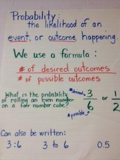 Growing Grade by Grade: Probability Anchor Chart Student Teaching, Math Teacher, Math Classroom, Maths, Teaching Ideas, Classroom Ideas, Math Math, Classroom Displays, Teacher Stuff