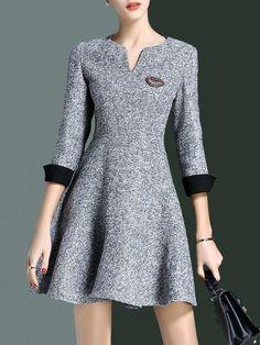 StyleWe  A-line V Neck 3/4 Sleeve Mini Dress