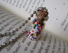 Rainbow Sprinkles Nonpareils 1ml Glass Vial Bottle Necklace Pendant Charm - Colorful Non-pareils