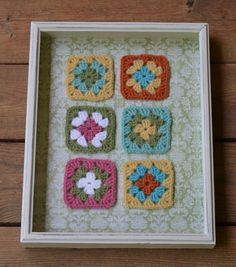 Shadow Box Frame with Crochet Granny Squares by LittlestSister, $25.00