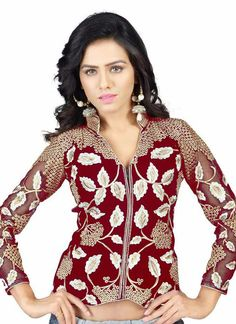 Red Wholesale Blouse Collection With Velvet Febric