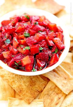 strawberry salsa with balsamic vinegar, chopped fresh basil and lemon zest