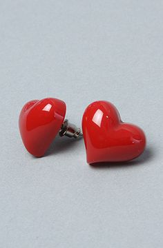 Karmaloop Accessories Boutique The Heart Resin Earring in Red Resin heart  shaped stud earring.  The Extras 2a01fc37e2dc3