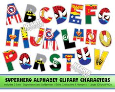 SUPERHERO Alphabet Clipart PNG Printable Font by HeartsPaperArt