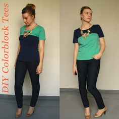 Über Chic for Cheap: Refashion: DIY Color Block Tees. Clever! I like the darker color on the bottom.