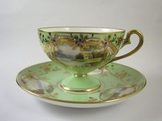 Fabulous Noritake Hand Painted Lake & Cottage Pedestal Cup & Saucer Jewelled
