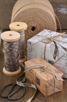 The Little Corner - giftwrapping in kraft paper with beautiful stamps & ribbon.