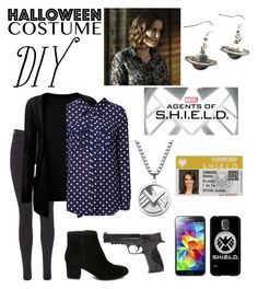 """""""S.H.I.E.L.D. Agent Jemma Simmons"""" by getsherlock ❤ liked on Polyvore featuring Maison Scotch, Steve Madden, Smith & Wesson, Samsung, halloweencostume, DIYHalloween, Jemmasimmons, fitzsimmons and agentsodshield"""