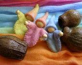 Gumnut Gnome Baby - A little felt gnome tucked gently into an Australian gumnut - EtsyAU