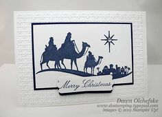 Come to Bethlehem or Ink: Night of Navy Paper: Night of Navy Whisper white and Notecards & Envelopes Accessories: Big Shot Lattice Square Texture Impressions Embossing Folder Modern Label Punch Rhinestone Jewels Stampin' Dimensionals Blender Pens Chrismas Cards, Create Christmas Cards, Stamped Christmas Cards, Religious Christmas Cards, Stampin Up Christmas, Xmas Cards, Christmas Ideas, Christmas Ornament, Holiday Greeting Cards