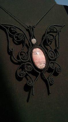Butterfly macrame necklace Rhodochrosite necklace macrame