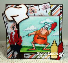 Art Impressions Rubber Stamps: Fathers Day Heroes > Grill Father (Sku#4375) Handmade masculine card. bbq