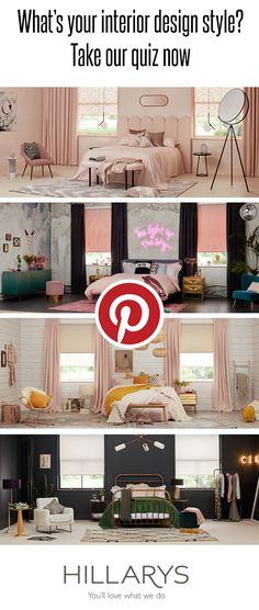 One room. Four inspirational looks. Take our fun quiz to discover your interior design personality. Interior Design Styles Quiz, Contemporary Interior Design, Contemporary Bedroom, Design Ideas, Design Blogs, Cool Bedroom Furniture, Furniture Near Me, Bedroom Decor, Bedroom Ideas