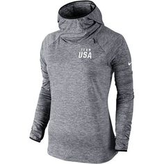 Women's Nike Gray Team USA Heathered Element Pullover Hoodie