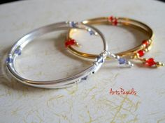Stacking wrap bracelets  sterling silver 22k gold by ArtsParadis
