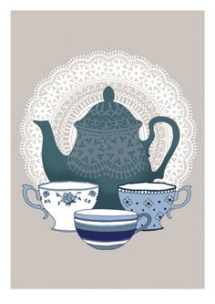 Vintage Style Teapot Print by HipsterSpinster1 on Etsy
